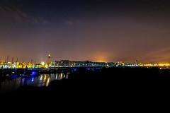 Havre nocturne (jérémydavoine) Tags: seam sea mer port harbor lehavre normandie architecture city ville unesco église tower tour clocher perret night nuit ciel sky