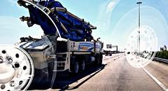 Multi axle road machines (MoparMadman63) Tags: machinery truck multiaxel interstate highway i30 equipment industrial pumperequipment concrete snorkel heavyduty dallastx texas roadway collage doubleexposure
