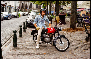1950's Gilera 98cc and its friendly rider