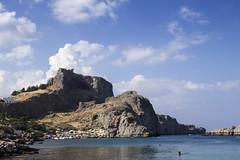 Lindos Acropolis from St Pauls Bay 2 (ir0ny) Tags: rhodes greece lindos saintpaulsbay acropolis akropolis lindosacropolis lindosakropolis bay sea mediteranean ruins ancientruins lindian