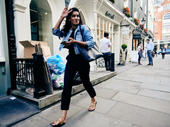 20180808T15-28-11Z-P8080619 (fitzrovialitter) Tags: candid portrait girl streetportrait denim jacket waving peterfoster fitzrovialitter city camden westminster streets rubbish litter dumping flytipping trash garbage urban street environment london fitzrovia streetphotography documentary authenticstreet reportage photojournalism editorial captureone olympusem1markii mzuiko 1240mmpro microfourthirds mft m43 μ43 μft geotagged oitrack