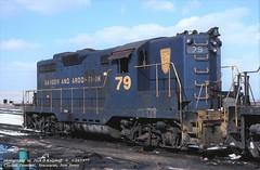 BAR 79 GP9, Croxton, NJ. 1-24-1977 (jackdk) Tags: train locomotive locomotiveroster roster emd emdgp9 emdgp7 gp9 gp7 bar bangerandaroostook cr conrail croxton engineterminal erielackawanna erie terminal