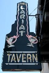The LARIAT Tavern Sign - Belmont, Calif. (hmdavid) Tags: vintage sign california peninsula roadside advertising lariat tavern bar belmont cocktails neon