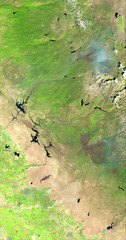 Donnell and Ferguson Fires in the Central Sierra Nevada, variant (sjrankin) Tags: 13august2018 10august2018 edited esa europeanspaceagency sentinel2 california northerncalifornia sierranevada fire wildfire smoke mountains fergusonfire hetchhetchyreservoir yosemite yosemitenationalpark yosemitevalley donnellfire