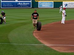 Let's Roll Some Tires! 004 (mwlguide) Tags: baseball midwestleague bowlinggreenhotrods lansinglugnuts ballpark lansing leagues ballyard omd em1ii tire games em1 4203 michigan omdem1mkii olympus 2018 20180814hotrodslugnutsem1raw1184203