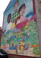 Mural on Maryhill Road, Glasgow (luckypenguin) Tags: scotland glasgow maryhill eastpark mural streetart