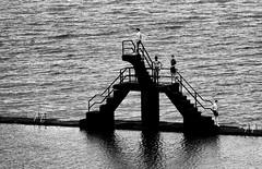 Plonge ou plonge pas? (fred ettendorff) Tags: landscape maritimes mer noiretblanc paysages personnages photosderue saintmalo bretagne france fr