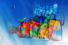 Dänemark - Römö - Windspiele - Drachensport (Pana53) Tags: photographedbypana53 pana53 myart drachensport windspiele turbinen leinenschmuck bunt himmel dänemark inselrömö strand drachenfest kiteflyermeeting bewegungsunschärfen nikon nikond810
