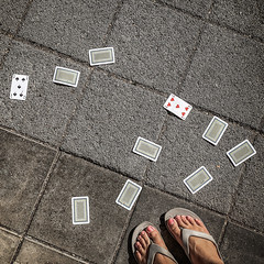 Spades and hearts (Melissa Maples) Tags: antalya turkey türkiye asia 土耳其 apple iphone iphonex cameraphone summer square 11 me melissa maples selfportrait woman flipflops shoes feet grey pavement playingcards cards