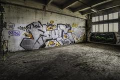 Graf (oliv86) Tags: abandon lost decay batiment industriel atelier graf grafitti street art urbex a7 longueur verriere france étage vieux ancien barre escalier porte poteau jocker tag squatt fete zone area béton old