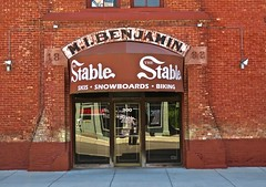 M.I. Benjamin, Saginaw, MI (Robby Virus) Tags: saginaw michigan mi ghost sign benjamin architecture historic details stable outdoors store business entrance signage bicycle snowboards skiing