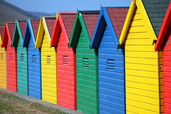 Yellow Red Green Blue Is The Order (Yorkshire Pics) Tags: huts beachhuts colouredbeachhuts whitby