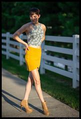 Gabriela - Sunspots (jfinite) Tags: model beauty fashion environmentalportraiture summer shadow naturallight speckled heels legs skirt brunette