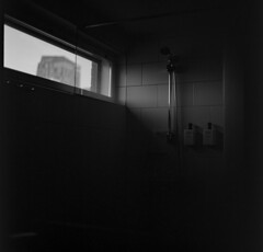 (Samuli Koukku) Tags: hotel hotellife shower bw blackwhite finland tampere lowkey window hasselblad fuji acros 6x6 monochrome 80mm planar analog 500cm mediumformat