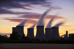 The power of sunset (G-WWBB) Tags: powerstation drax selby sunset clouds colours warmskies red coolingtowers steam longexposure power station