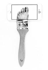 Foot brush - phone (Charlotte P.Denoel) Tags: fineart contemporaryart conceptart art paintbrush foot noiretblanc nb blackandwhite bw
