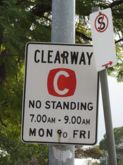 Clearway traffic sign (RS 1990) Tags: thursday 16th august 2018 adelaide southaustralia sign