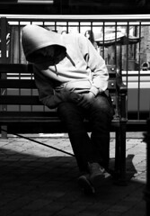 A Sad Every Day Occurance in any City! (WorcesterBarry) Tags: blackwhite bnw blackandwhite street streetphotography streetphoto shadows streetartist candid city seating places people photographers travel adventure gear hats kindness light monochrome damage weather t