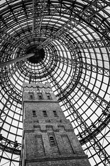 LEAD PIPE & SHOT FACTORY (LA GRANDE TERRE) Tags: australia bw blackwhite canon dome efs1855mmf3556isii eos1300d heritage leadpipeshotfactory lookingup melbourne melbournecentralshoppingmall monochrome photoshopcc tower vic victoria