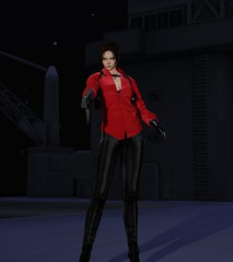 The Wong Ada (alexandriabrangwin) Tags: alexandriabrangwin secondlife 3d cgi computer graphics virtual world photography ada wong resident evil 6 carla transformation warrior red silk shirt black leather pants jeans mac10 submachine gun smg pistol aircraft carrier flight deck night angry looking woman high heeled boots boss fight holsters walther p99 ingram