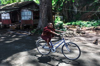 Little monk cycling!