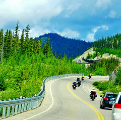 Sharing the road (peggyhr) Tags: peggyhr icefieldsparkwayhighway motorbikes glacierskywalk mountains forests curves alberta canada highway93n dsc09230ab1