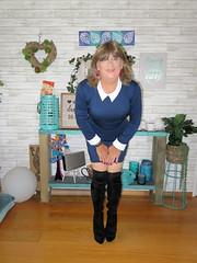 Short dress (Trixy Deans) Tags: crossdresser cd cute crossdressing crossdress classy boots kneeboots xdresser sexy sexyheels sexytransvestite sexylegs sexyblonde tgirl tv transgendered transvestite transsexual trixydeans tgirls t