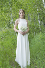 Mountain Bride (aaronrhawkins) Tags: bride wedding bridal dress bouquet wife girl woman pretty beautiful elegant simple aspen grove timpanogos trail loop provo utah mountains sarah aaronhawkins grass gown tree wed marry marriage young nature natural