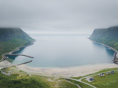 Ersfjord Beach (laurilehtophotography) Tags: norway europe ersfjord beach aerial dji mavic pro nature landscape sand sea water fog mist mountains sky island isle grass amazing earth awesome drone holiday vacation summer 2018