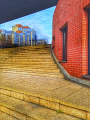 A perspective on the tribunal in Bobigny, France (LUMEN SCRIPT) Tags: hdr architecture angle pov perspective blue red colours steps stair stairway suburbanphotography urbanphotography urban bricks sky wall lines building