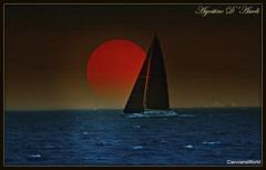 Barca con luna - Elaborazione digitale a Favignana (Agostino D'Ascoli) Tags: barca luna nikon nikkor mare favignana sicilia texture landscape paesaggi cielo photoshop art digitalart agostinodascoli