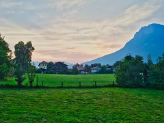 Early summer morning in Kiefersfelden with Kaiser mountains, Bavaria, Germany (UweBKK (α 77 on )) Tags: landscape fields grass green trees forest kaiser mountains alps sunrise sun light sky clouds kiefersfelden bavaria bayern germany deutschland europa europe iphone scenery scene scenic