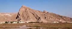 Oasis Rock (Umer Javed) Tags: alain mubarrazah uae unitedarabemirates sheikhzayed zayedbinsultan oasis rock mountain rocky sandstone sand desert greenery panorama cinematic bluesky brown panoramic pointy mountainous craggy crag warm retro filmlike rawtherapee fujifilm xq1 wide nature landscape traditional classic sandy pasteltones