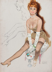 Pin-Up in White Gloves by Fritz Willis (gameraboy) Tags: fritzwillis pinup pinupart art illustration vintage painting pinupinwhitegloves lingerie boobs stockings nylons thighhighs