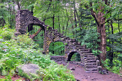 We Forget Nothing (elsewhereness) Tags: newhampshire madamsherriescastle newengland stairs forest trees ferns rocks green wet arches stairway stairwaytoheaven ruins abandoned derelict