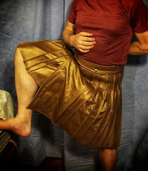 Leather utility kilt - almost done. (joshua_putnam) Tags: leather steampunk sewing costuming kilt pleats pleating pleated copper bronze cosplay