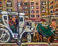 Horse and carriage (The Big Jiggety) Tags: horse cheval caballo pferd oil canvas huile toile oleo tela nyc newyork newyorkcity carriage caleche manhattan wheels roues ruedas