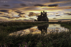 Abbey sunset. (Dave Cappleman) Tags: abbeysunset whitby abbey davecappleman davecapplemanphotography whitbydistrict yorkshire northyorkshire coast coastal sea seaside colour colourful bright sunrise dawn sunset town village beach cliffs sky clouds landscape landscapes composition water season seasonal memories