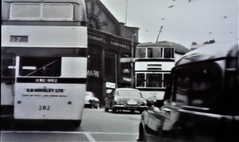 Sheffield City Centre 1957. (ManOfYorkshire) Tags: sheffield 1957 history nostalgia tram bus assurance hall haymarket bw citycentre