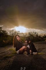 Peyotl & Sabina (ezernazaretvalenciabriseño) Tags: girl mujer mexicana pitbull strobe portrait sunset