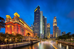 Raffles City (Scintt) Tags: singapore mbs marina bay water sky dramatic travel tourist attraction exploration movement motion skyline cityscape city urban modern structures architecture buildings offices shenton way cbd scintillation scintt jonchiangphotography iconic surreal epic wideangle still calm glow light tones nature pond pool dusk twilight waterfront longexposure slowshutter bluehour boat quay clarke parliament house bridge panorama pano stitched trails fullerton hotel office towers skyscrapers rafflesplace wide night evening haida 19mm nikon pce neutraldensity