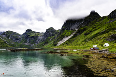 Vindstad in Reinefjorden - Lofoten Norway (lasse christensen) Tags: dsc3810 norway nordland lofoten vindstad reinefjorden fjord sea sjø clouds skyer moskenesøy