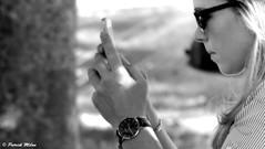 Lady camera (patrick_milan) Tags: girl woman fille femme glass lunette phone clock montre portrait