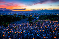 lanterns on the graveyard (Otani Sobyo temple, Kyoto) (Marser) Tags: xt10 fujifilm raw lightroom japan kyoto temple dusk lantern grave graveyard cityscape sunset 京都 大谷祖廟 万灯会