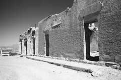 Ruins (Chris Schuler) Tags: mexico boquillas 35mm smc 35mm28 blackandwhite bw monochrome ruins summer outdoors architecture sky desert old film analog analogue pentax k1000 trix 400 redfilter kodak