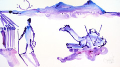 AFRICA TO THE NAKED 378 (eduard muntada) Tags: africa to the naked oxid 378 watercolor mountains desert dromedary sun blue purple minimal