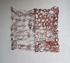 (Ines Seidel) Tags: newspaper news texture pattern fibreart paper zeitung machinestitching sewing yarn zeitungspapier muster