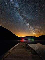 Astronomy Domine (Christophe Rusak) Tags: july august stars starlight pier lake night light reflection milkyway milky way galaxy astronomy astrophotography mountain sky nightscape landscape red pollution vosges alsace mars planet france summer hot wood peaceful beautiful