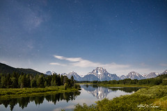 Mount Moran By Moonlight_27A0998 (Alfred J. Lockwood Photography) Tags: alfredjlockwood nature landscape nightscape nightsky stars clouds reflection mountmoran rockymountains snakeriver oxbowbend wyoming