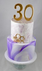 Marble and watercolor geometric cake (jennywenny) Tags: marble 30th birthday purple white gold hand painted